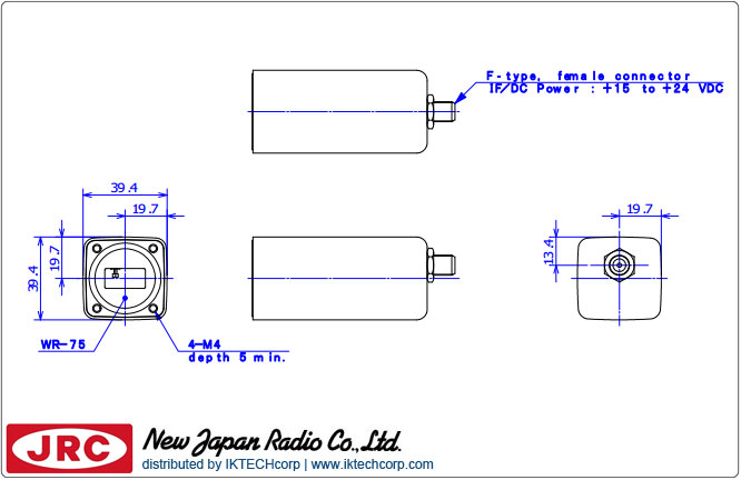 New Japan Radio NJRC NJR2744HN DRO LNB (11.70 to 12.20 GHz) Low Noise Block L.O. Stability: +/-900 kHz N-Type Connector Mechanical Diagram Drawing