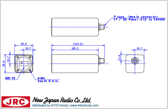 New Japan Radio NJRC NJR2836S PLL LNB (12.25 to 12.75 GHz) Low Noise Block Int. Ref. L.O. Stability: +/-3 ppm N/F-Type Connector Mechanical Diagram Drawing