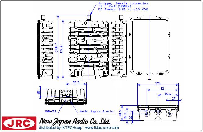 New Japan Radio NJRC NJT5116F 3W Ku-Band (Standard 14.0 to 14.5 GHz) Block Up Converter BUC F-Type Connector Input Mechanical Diagram Drawing