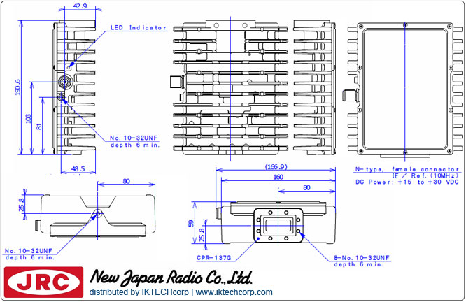 New Japan Radio NJRC NJT5669F 5W C-Band (Standard 5.85 to 6.425 GHz) Block Up Converter BUC F-Type Connector Input Mechanical Diagram Drawing