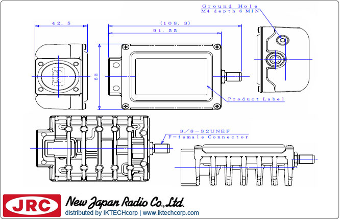 New Japan Radio NJRC NJT8302N 3W Ku-Band (Standard 14.0 to 14.5 GHz) Block Up Converter BUC N-Type Connector Input Mechanical Diagram Drawing