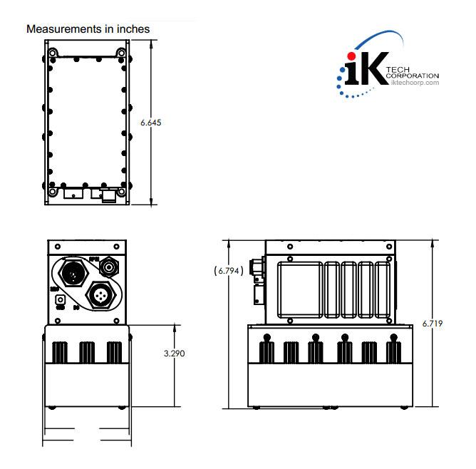 Norsat ATOM SSPA-ATOMKU040 Ku-BAND 40W Solid State Power Amplifier SSPA RF Frequencies Mechanical Diagram Drawing
