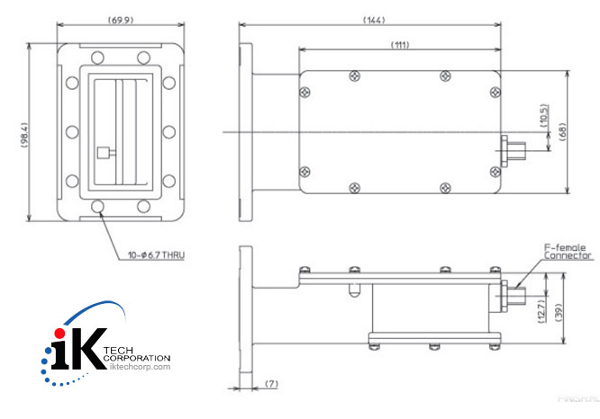 Norsat KU-BAND External Reference LNB F or N Type Connector Input 3000 High Stability Series Mechanical Diagram