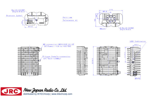 New Japan Radio NJRC NJT5667F 2W C-Band (Standard 5.85 to 6.425 GHz) Block Up Converter BUC F-Type Connector Input Mechanical Diagram Drawing