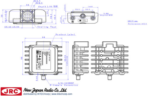 New Japan Radio NJRC  NJT8304F 4W Ku-Band (Standard 14.0 to 14.5GHz ) Block Up Converter BUC F-Type Connector InputMechanical Diagram Drawing