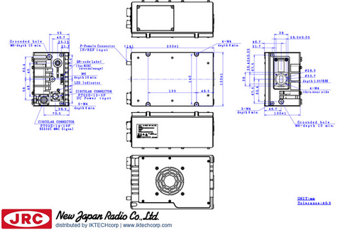 New Japan Radio NJRC   NJT8371FMRA  40W Ku-Band (Universal 13.75 to 14.5 GHz) Block Up Converter BUC F-Type Connector Input Mechanical Diagram Drawing