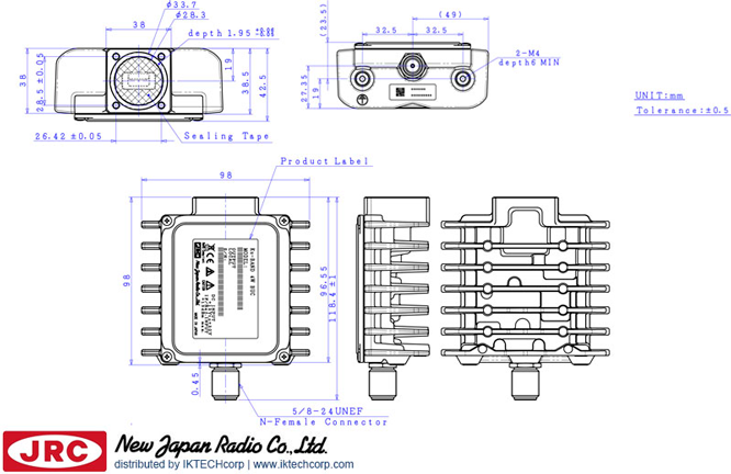 New Japan Radio NJRC  NJT8304UN 4W Ku-Band (Universal 13.75 to 14.5GHz) Block Up Converter BUC N-Type Connector InputMechanical Diagram Drawing