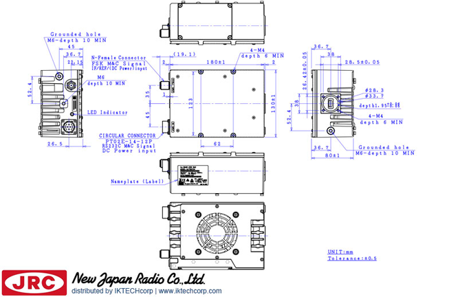New Japan Radio NJRC   NJT8370UNMR 25W Ku-Band (Universal 13.75 to 14.5 GHz) Block Up Converter BUC N-Type Connector Input Mechanical Diagram Drawing