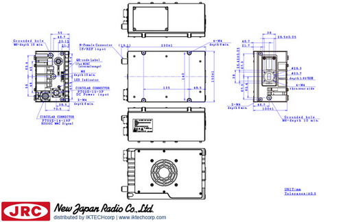 New Japan Radio NJRC   NJT8371NMR  40W Ku-Band (Universal 13.75 to 14.5 GHz) Block Up Converter BUC N-Type Connector Input Mechanical Diagram Drawing